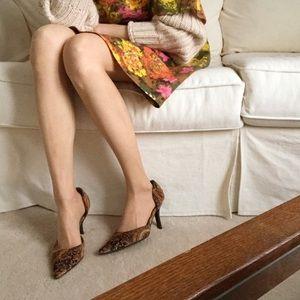 Velvet paisley heels w/ gold flecks